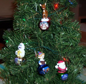 """Rudolph the Red-Nosed Reindeer"" ornaments on my little tree"